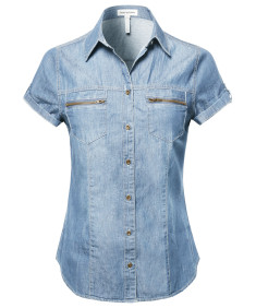 Women's Short Roll Up Sleeves Chest Pocket Denim Chambray