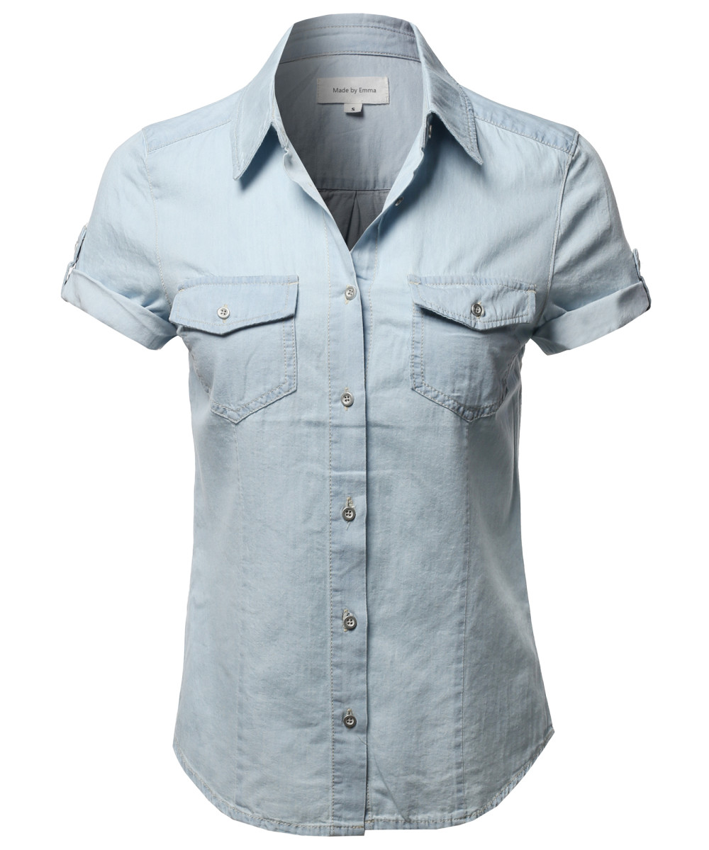 Women 39 s casual adjustable roll up short sleeves chest for Short sleeve chambray shirt women