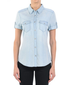 Women's Casual Adjustable Roll Up Short Sleeves Chest Pocket Denim Chambray Shirt