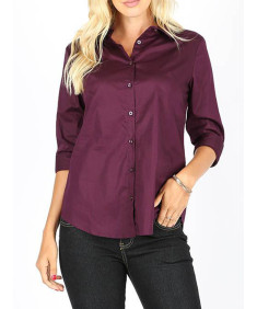 Women's Casual Work Basic Solid Stretch Popline 3/4 Sleeve Button Down Shirt Blouse