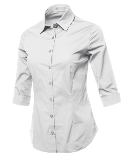 Women's Casual Work Basic Solid Stretch 3/4 Sleeve Button Down Collar Shirt Blouse