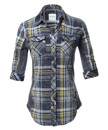 Women's Casual Washed Plaid 3/4 Sleeve Button down Shirt