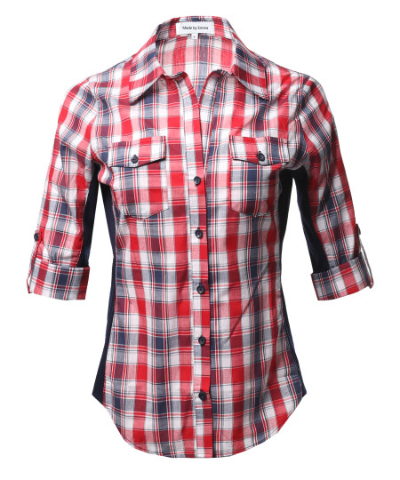 Women's Casual Plaid 3/4 Sleeve Roll-up Button down Shirt