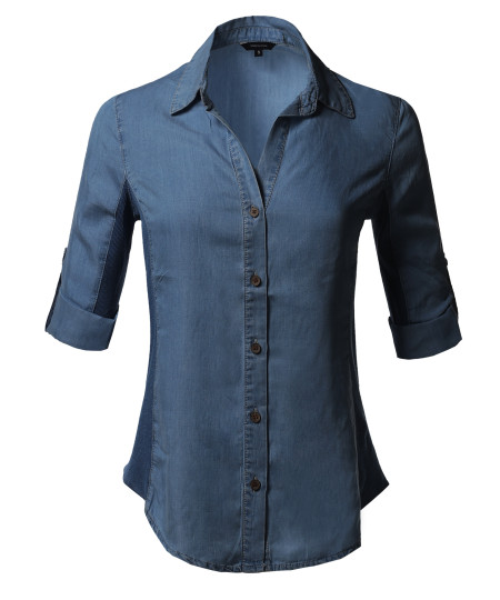 Women's Solid 3/4 Sleeve Roll-up Button down Shirt