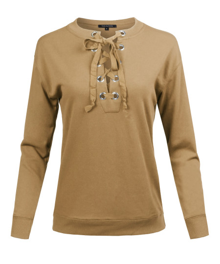 Women's Casual Solid Long Sleeve Front Lace Up Neck French Terry Top