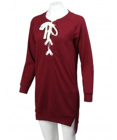 Women's Casual Solid Long Raglan Sleeve Lace Up French Terry Dress Top