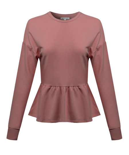 Women's Solid Basic Trendy Long Sleeve Ruffle French Terry Top