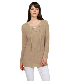Women's Casual Solid Raglan Long Sleeve Lace Up Front  V-Neck Knit Sweater