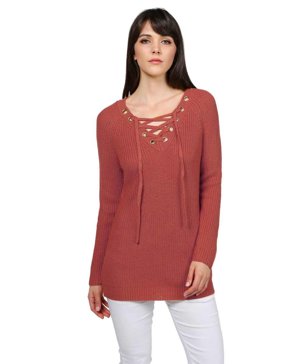 a4a1a0ba61 Women s Casual Solid Raglan Long Sleeve Lace Up Front V-Neck Knit Sweater