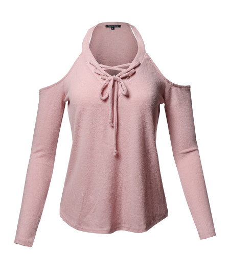 Women's Sexy V-Neck Cold Shoulder Lace-Up Long Sleeve Sweater