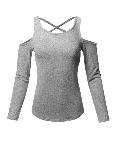 Women's Sexy Cold Shoulder Long Sleeve Crisscross Back Detail Top