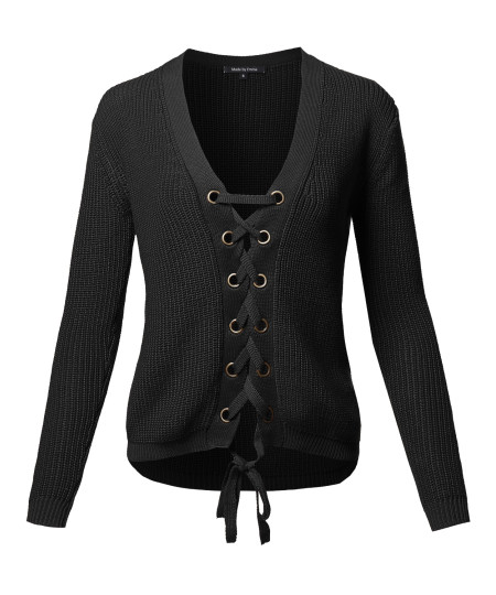 Women's Casual Solid Long Sleeve Lace Up Front  V-Neck Knit Sweater