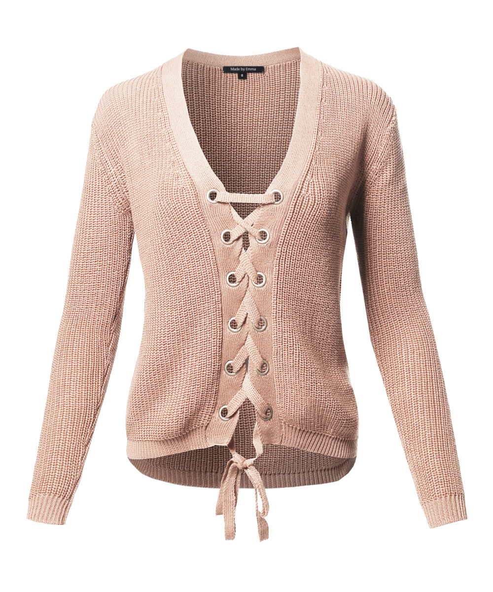 5945791a6d Women s Casual Solid Long Sleeve Lace Up Front V-Neck Knit Sweater ...