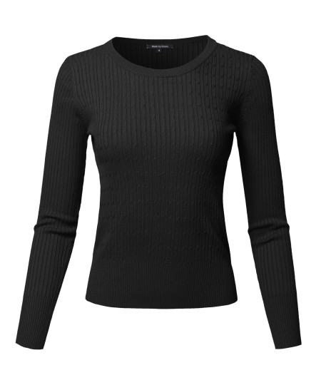 Women's Basic Long Sleeve Crew Neck Cable Knit Classic Sweater