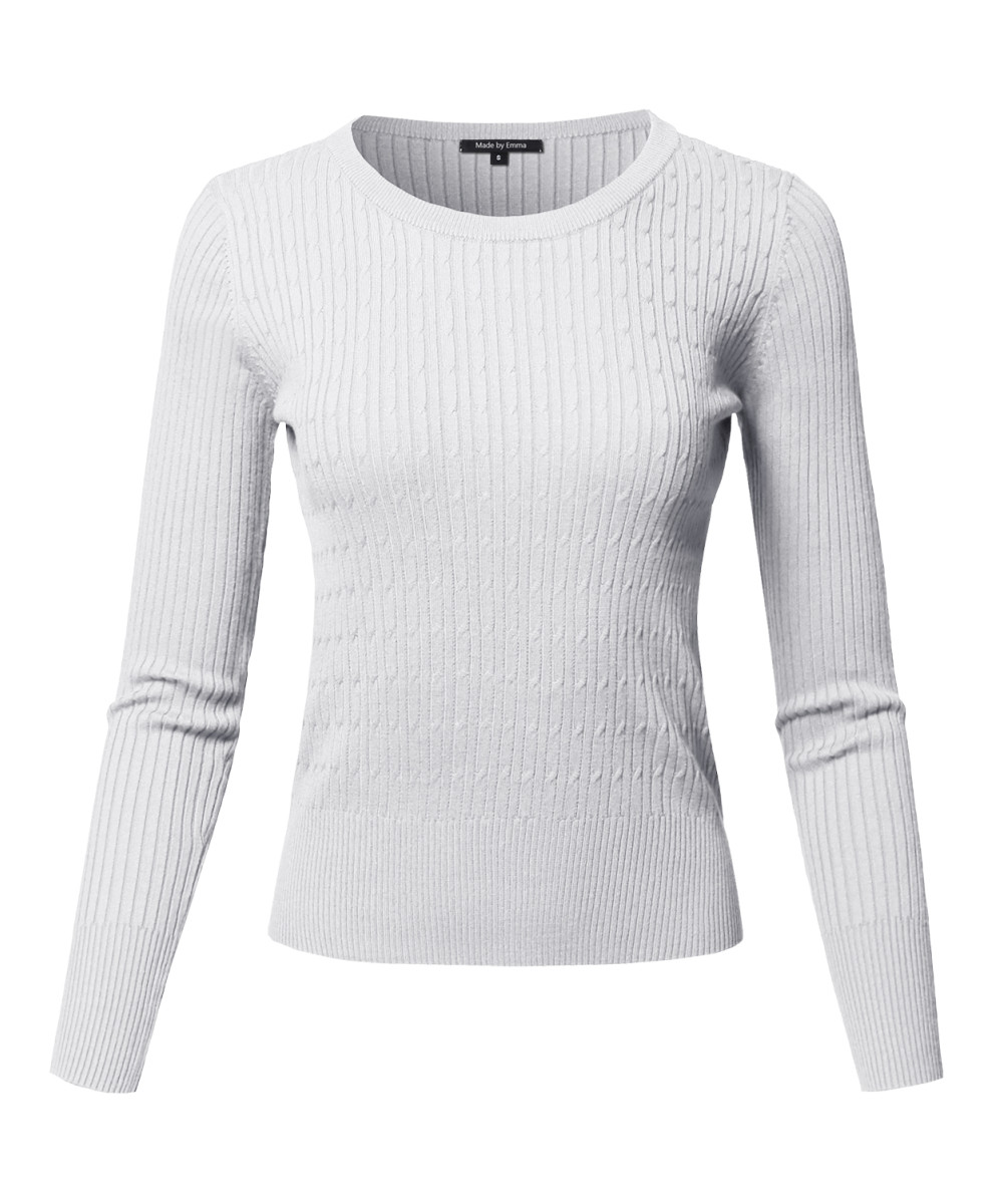 Women's Basic Long Sleeve Crew Neck Cable Knit Classic Sweater ...