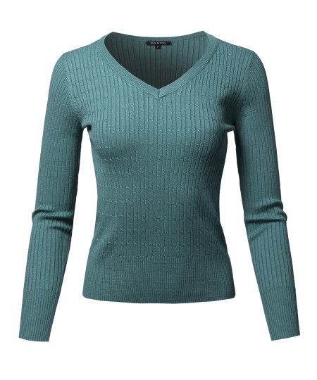 Women's Basic Long Sleeve V-Neck Cable Knit Classic Sweater