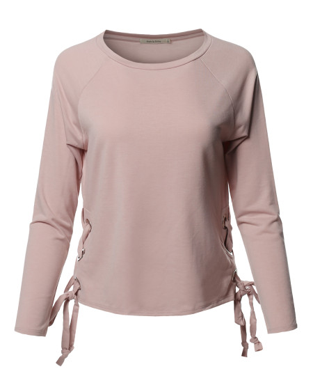 Women's Trendy Raglan Long Sleeves Side Lace Up French Terry Top