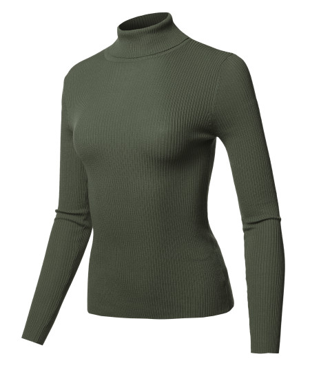 Women's Casual Solid Long sleeve Turtleneck Fitted Rib Sweater Top