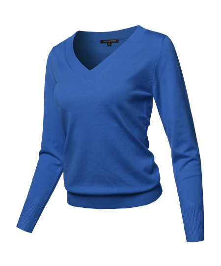 Women's Casual Premium Quality Thick Neck Line Pullover V-neck Sweater Top