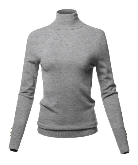 Women's Casual Solid Soft Light Weight Gold Button Turtleneck Sweater Top
