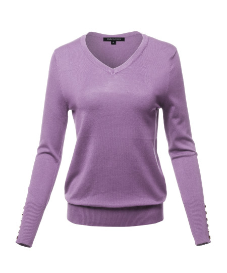 Women's Casual Premium quality With Gold Button Stretchy V-neck Sweater Top