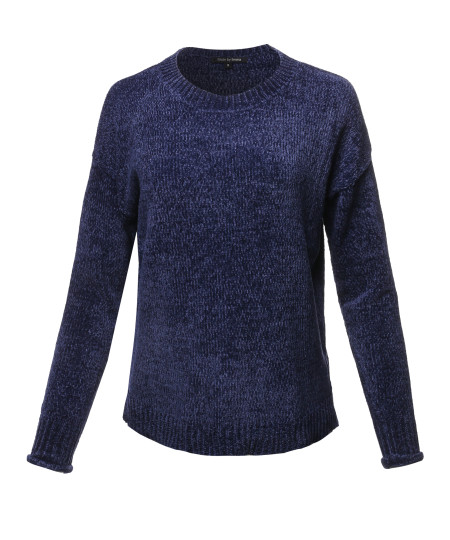 Women's Casual Chenille Sweaters Crew Neck Side Slit Pullover Sweater Tops