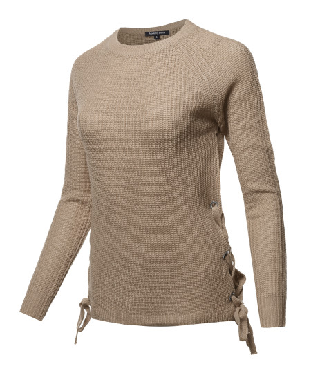 Women's Casual Long Sleeve Side Lace Up Pullover Sweater Knitted Tops