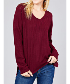 Women's Casual Long Sleeve Dolman V-Neck Brushed Waffle Knit Tops
