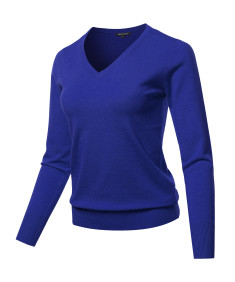 Women's Solid Basic Long Sleeve V Neck Classic Sweater