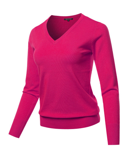 Women's Solid Basic Long Sleeve V Neck Classic Sweater