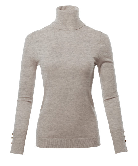 Women's Solid Long Sleeve Gold Button Detail Turtle Neck Viscose Sweater Top