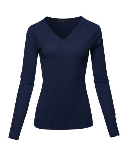 Women's Casual Premium quality With Gold Button V-neck Viscose Sweater Top