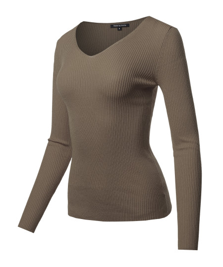 Women's LONG SLEEVE V-NECK FITTED RIB SWEATER TOP
