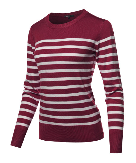 Women's Round Neck Striped Pullover Long Sleeve Top