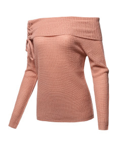 Women's Casual Off Shoulder Long Sleeve Pullover Sweater Knit Tops