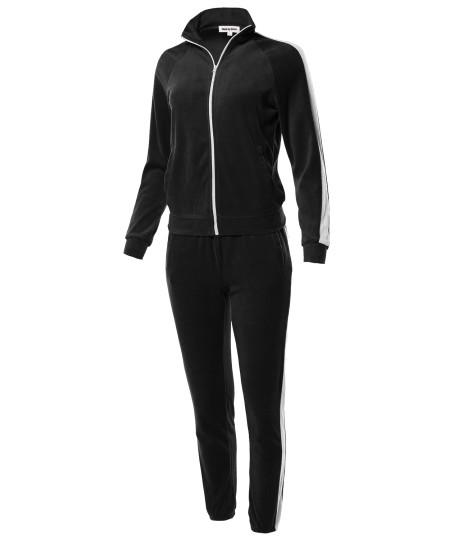 Women's Athletic Contrast Side Panel Velvet Zip Up Sweatshirt Sweatpants Set