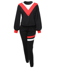 Women's Stylish Ballon Sleeve Color Block Top & Varsity Stripes Jogger Pants Set