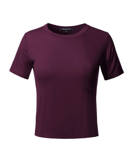 Women's Basic Solid Round Neck Chest Pocket Short Sleeves Top