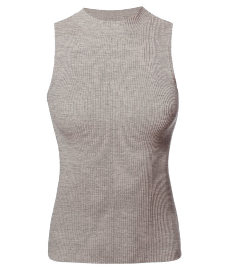Women's Solid Stretch Ribbed Sleeveless Mock Neck Knit Top