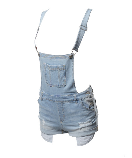 Women's Casual Printed Pocket Lining Rolled Cuff Denim Short Overall