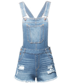 Women's Casual Denim Single Chest Pocket Adjustable Straps Sexy Cute Short Overalls