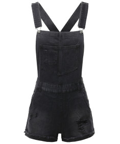 Women's Casual Black Single Chest Pocket Adjustable Straps Sexy Cute Short Overalls