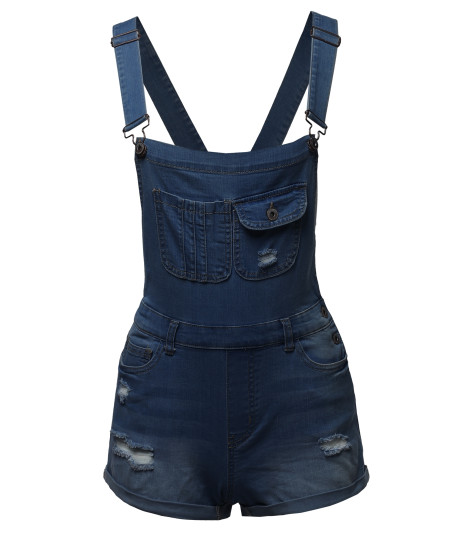 Women's Casual Distressed Rolled Cuff Denim Overall Short
