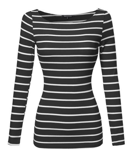 Women's Junior Basic Casual Long Sleeves Stripe Boat Neck Tee Top