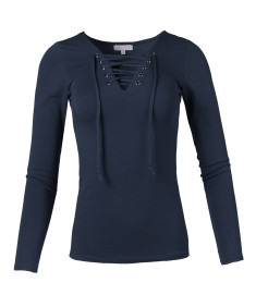 Women's Casual Solid Front Lace Up V-Neck Long Sleeve Top