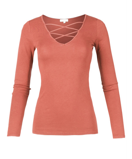 Women's Casual Solid Front Strappy Caged V-Neck Long Sleeve Top