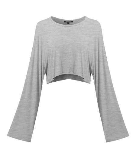 Women's Trendy Solid Kimono Long Sleeve Crop Top