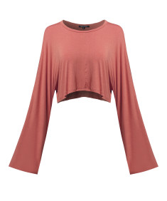 Women's Trendy Solid Kimono Long Sleeve Crop Top