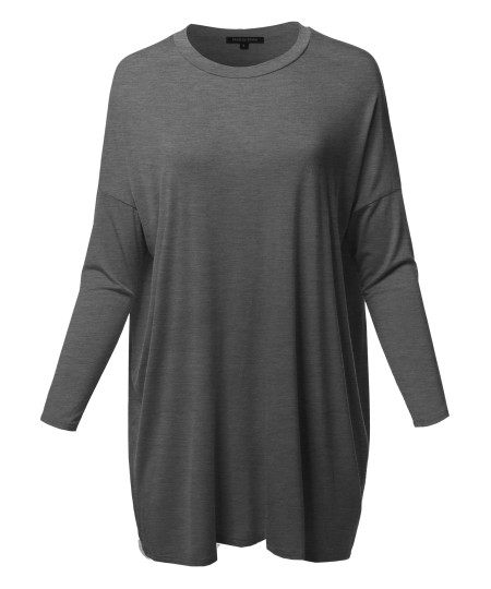 Women's Casual Loose Fit Dolman Sleeve Tunic Dress Top