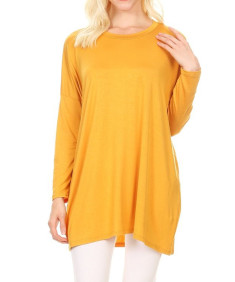 Women's Casual Loose Fit Dolman Sleeve Tunic Dress Top